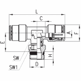 www.AirGART.com Фитинг Camozzi тройник с наружной резьбой (поворотный) S6430